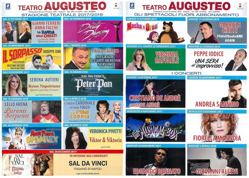 Teatro Augusteo Napoli - Stagione Teatrale 2017-2018