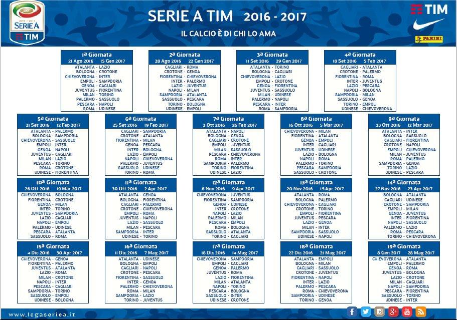 Calendario Anticipi E Posticipi Serie A.Ssc Calcio Napoli Girone Andata Anticipi E Posticipi