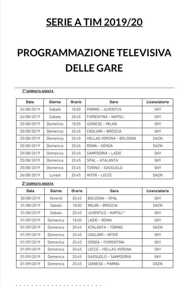 Calendario Partite Sky Dazn.Anticipi E Posticipi Di Serie A Prime 2 Giornate Del