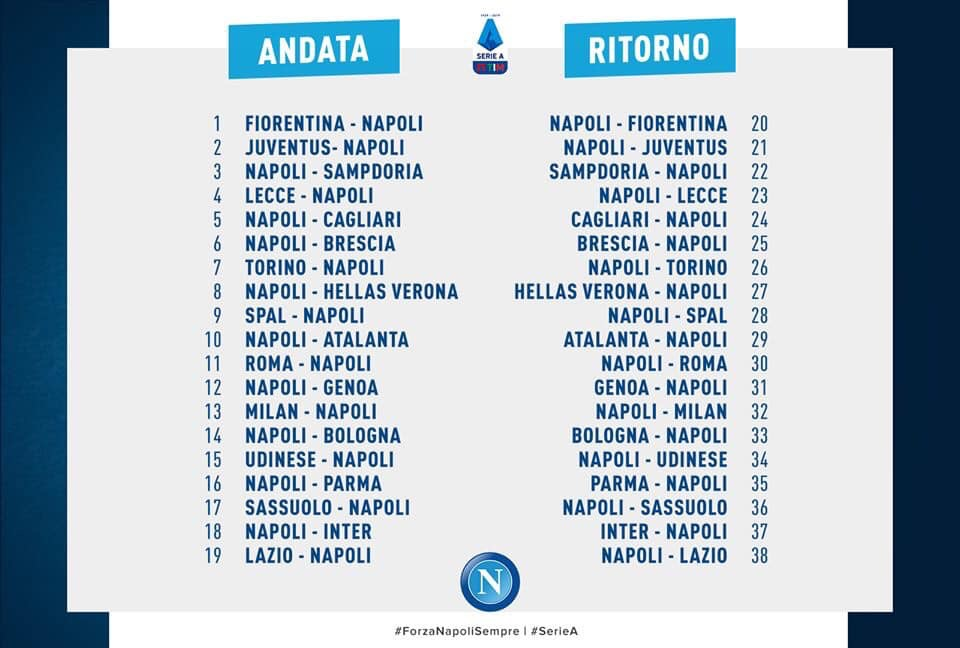 Calendario Seirie A.Calendario Ss Calcio Napoli E Prezzi Delle Singole Partite